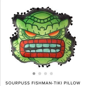 Sourpuss tiki fish man pillow